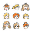 set women faces human heads different vector image vector image