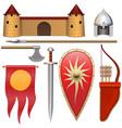 slavic knight armor icons set 3 vector image