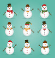 snowman collection vector image vector image