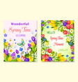 spring flower greeting card with floral background vector image vector image