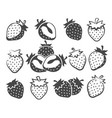 strawberry silhouette icons vector image