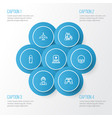 warfare outline icons set collection of fugitive vector image vector image