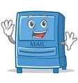 waving mailbox character cartoon style vector image vector image