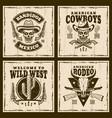 wild west set four brown emblems vector image vector image