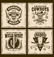 wild west set of four brown emblems vector image