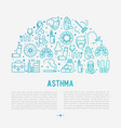 world asthma day concept in half circle vector image vector image