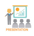 presentation business man showing flip chart with vector image
