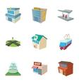 Public building icons set cartoon style vector image
