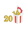 2014 year with a package and surprises vector image
