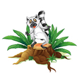 A playful lemur above the wood vector image vector image
