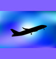air plane silhouette in blue sky vector image vector image