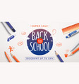 back to school sale poster education background vector image