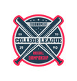 baseball college league vintage label vector image vector image