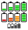 battery level indicators battery life accumulator vector image