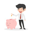 businessman putting coin a piggy bank money vector image vector image