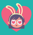 Cartoon Bunny Girl Madly in Love vector image vector image