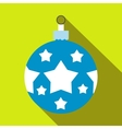 Christmas blue ball flat icon vector image