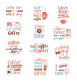 coffee lettering coffeecup quote phrase hot vector image vector image