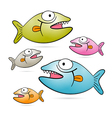 Colorful Fish With Teeth Set Isolated on White vector image
