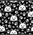 cute cat faces and footprint pattern seamless vector image