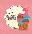 cute cupcake with love frame kawaii character vector image vector image