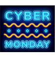 cyber monday neon sign for shop website vector image