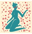 Elegant femininity woman silhouettes with plants vector image