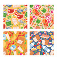 food seamless pattern meal vegetables fruits and vector image