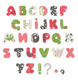 forest summer alphabet decorated with branches vector image