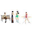 four modern girls vector image vector image