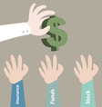 Hand pick dollar currency for investment vector image vector image