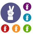 hand with victory sign icons set vector image vector image