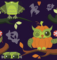 happy halloween owls flat seamless pattern vector image