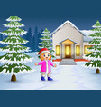 happy kid playing in front of the snowing house vector image vector image