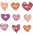 Heart Icons Set hand drawn icons and vector image vector image