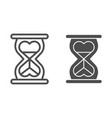 heart shaped hour glass line and glyph icon vector image