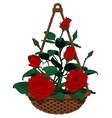 Isolated hanging basket of many roses vector image vector image