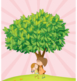kids playing under tree vector image vector image