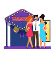 main entrance to gaming casino cartoon flat vector image vector image