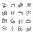 money funds and finances linear icons set vector image