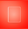 notebook icon isolated on orange background vector image vector image
