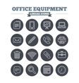 Office equipment linear icons set Thin outline vector image