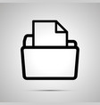 open folder with document simple black icon with vector image vector image