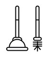 plunger or plumber rubber icon with outline and vector image