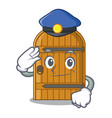 police cartoon wooden door massive closed gate vector image vector image