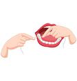 Process of flossing teeth vector image