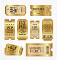 realistic detailed 3d golden tickets set vector image vector image