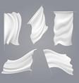 realistic white flag mockups vector image