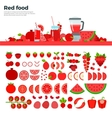 Red healthy food on the table vector image