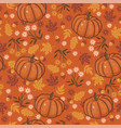 Seamless pattern with flowers autumn leaves and